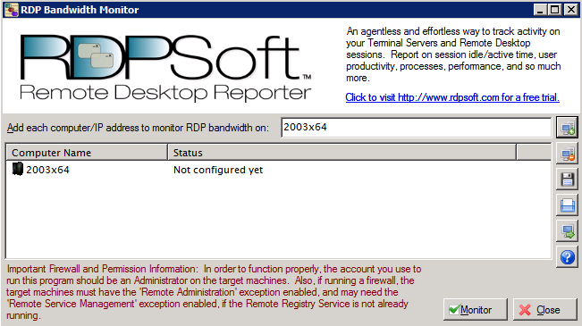Free Monitoring | Bandwidth Consumption | RDPSoft