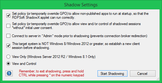 Shadow User RDP Settings