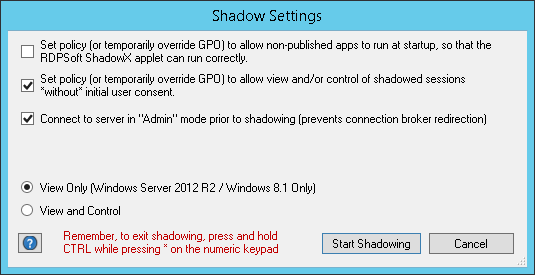Remote Desktop Commander 3.9 now automatically remembers your shadowing preferences