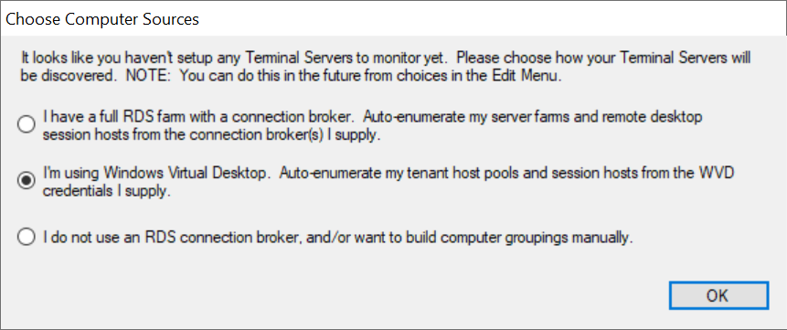 Our new beta version dynamically queries the WVD Broker to get tenant host pools and hosts