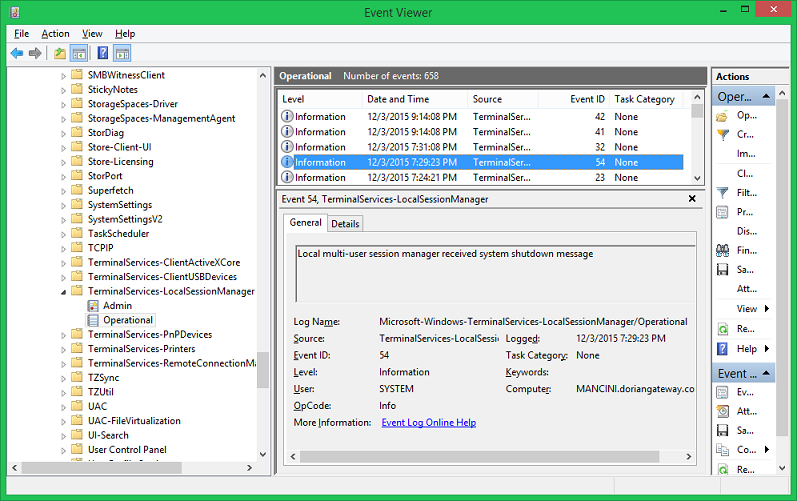 Terminal Server Diagnostic Channels in the Event Viewer have some additional information, but not much...