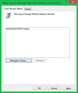 Deny Logon Via RDS