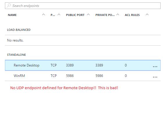 RDP UDP Endpoint Missing