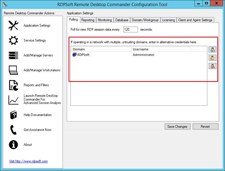 Remote Desktop Commander encrypts and stores alternate credentials in order to monitor Remote Desktop Session Hosts in untrusted domains.