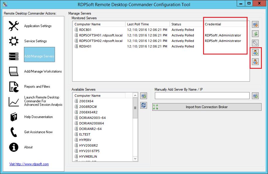 Assign alternate credentials to monitor Remote Desktop Session Hosts in untrusting domains.