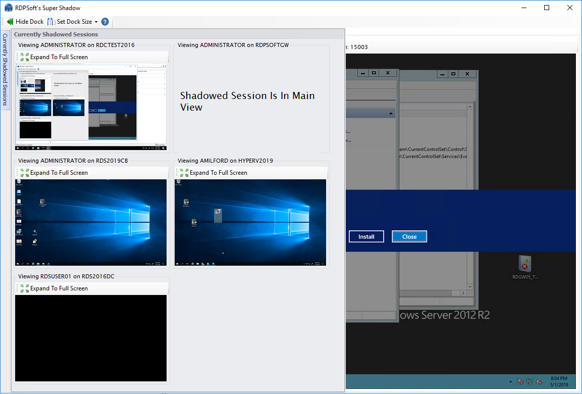 Shadow Multiple Monitor Sessions And Delegate Management For Remote