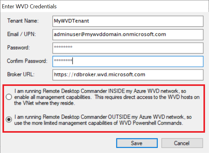 Choose the management mode you want to use with WVD, based on whether you have installed our tool inside or outside of your Azure VNet.