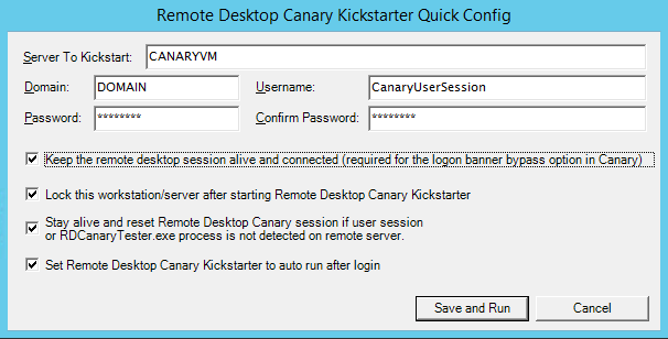 Remote Desktop Canary Kickstarter babysits the user session running Remote Desktop Canary