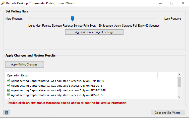 Remote Desktop Commander Polling Tuning Wizard