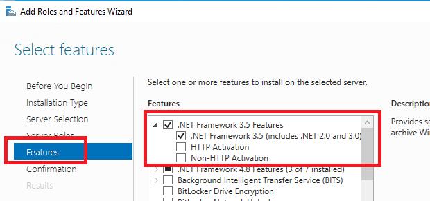 Net Framework 3.5 Features